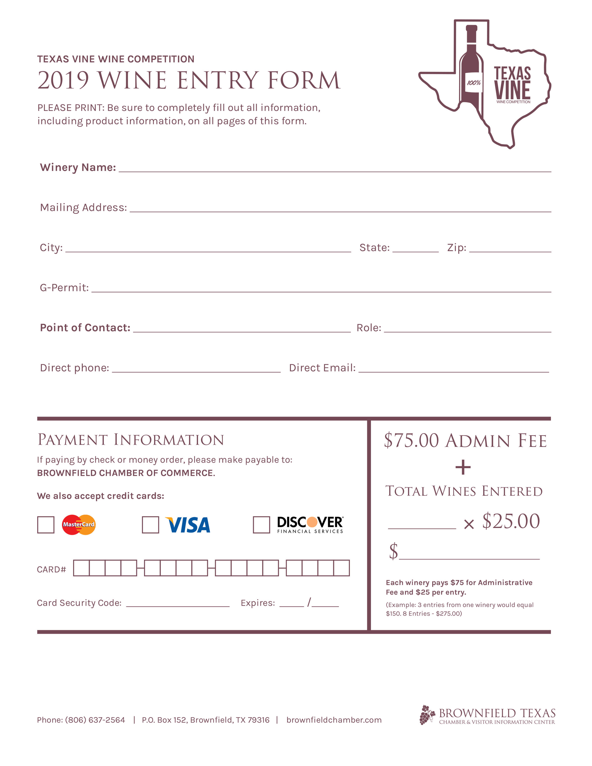 TExas Vine Festival Entry form